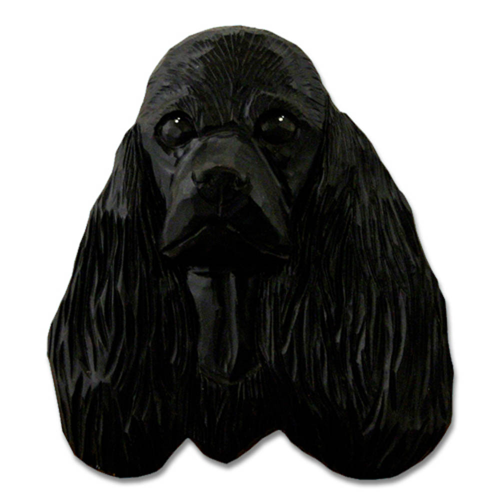 American Cocker Spaniel Head Plaque Figurine Black