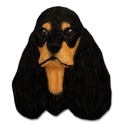 American Cocker Spaniel Head Plaque Figurine Black/Tan