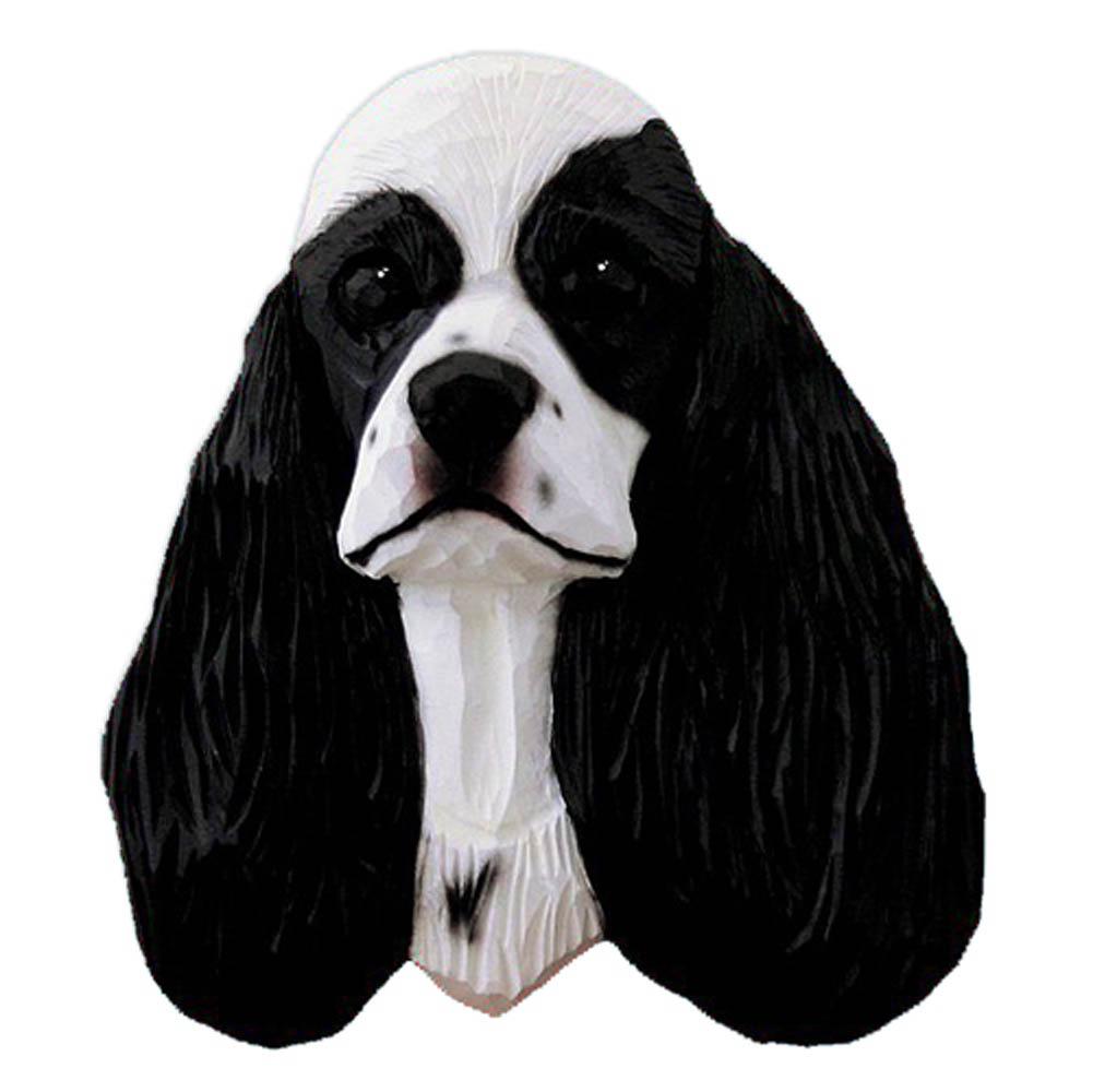 American Cocker Spaniel Head Plaque Figurine Black Parti