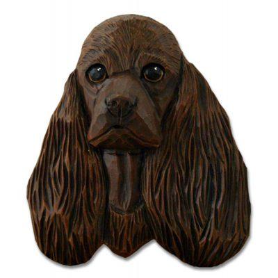 American Cocker Spaniel Head Plaque Figurine Brown