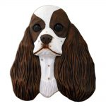 American Cocker Spaniel Head Plaque Figurine Brown Parti
