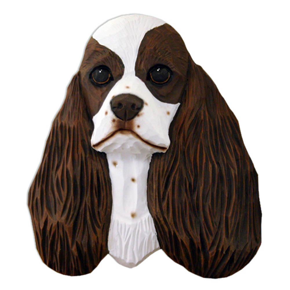 American Cocker Spaniel Head Plaque Figurine Brown Parti