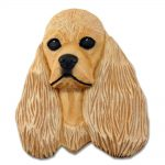 American Cocker Spaniel Head Plaque Figurine Buff