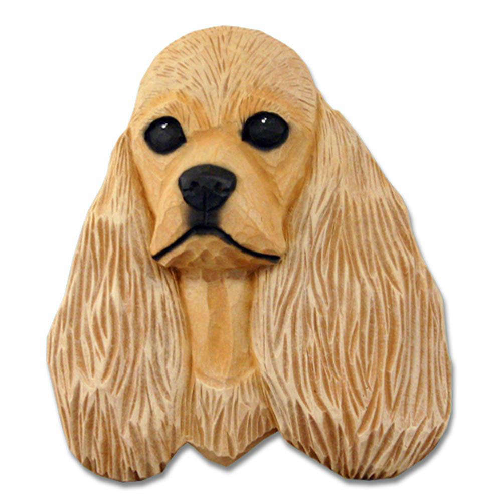 American Cocker Spaniel Head Plaque Figurine Buff
