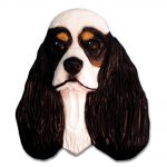 American Cocker Spaniel Head Plaque Figurine Tri