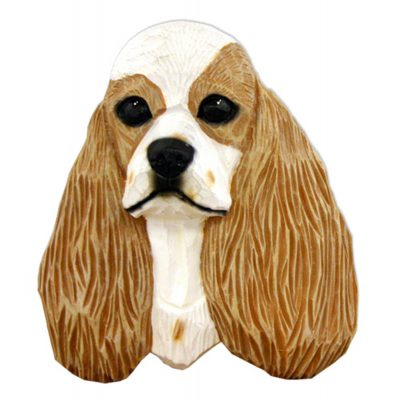 American Cocker Spaniel Head Plaque Figurine Buff Parti