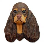 American Cocker Spaniel Head Plaque Figurine Brown/Tan