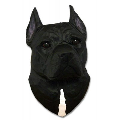 American Staffordshire Terrier Head Plaque Figurine Black 1