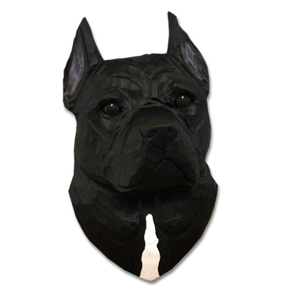 American Staffordshire Terrier Head Plaque Figurine Black
