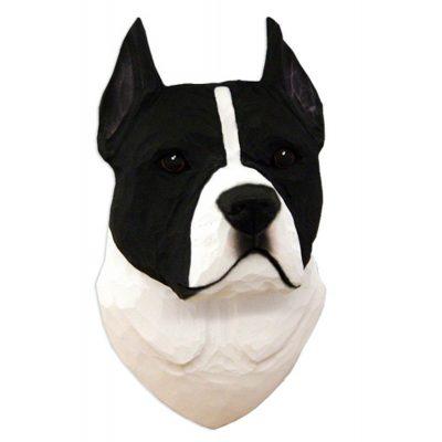 American Staffordshire Terrier Head Plaque Figurine Black/White 1