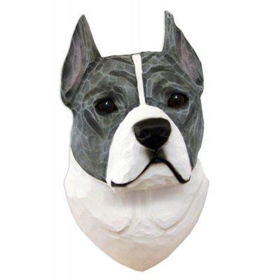 American Staffordshire Terrier Head Plaque Figurine Blue/White 1