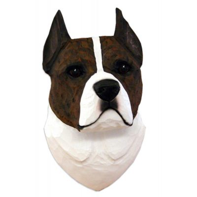 American Staffordshire Terrier Head Plaque Figurine Brindle/White 1