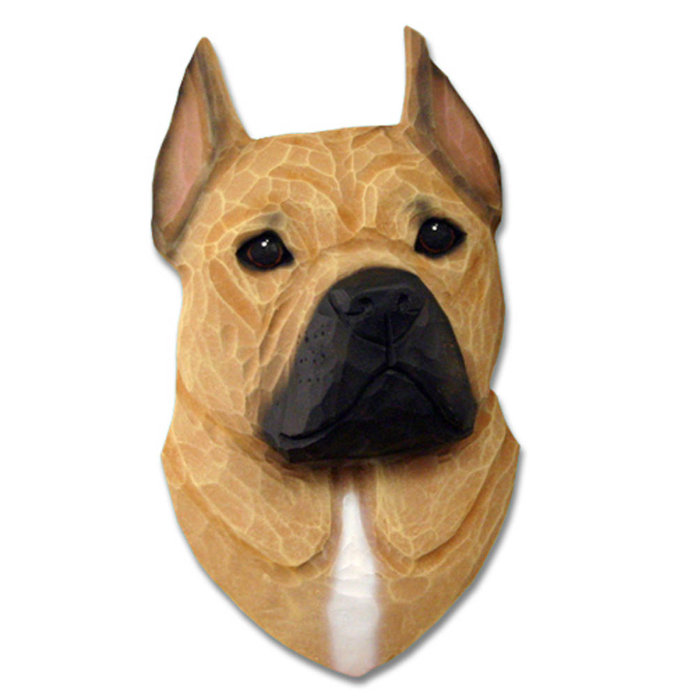 American Staffordshire Terrier Head Plaque Figurine Fawn