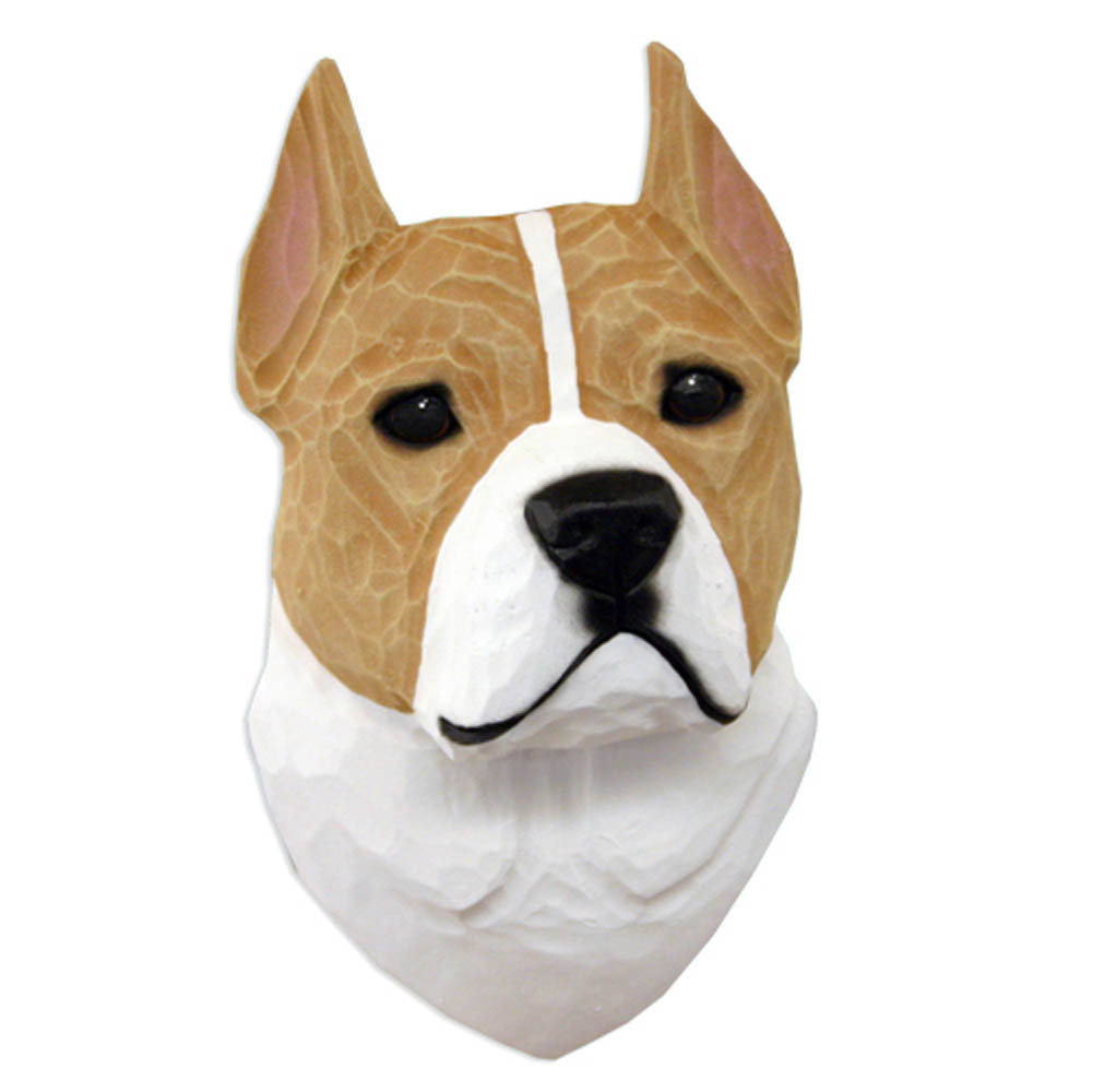 American Staffordshire Terrier Head Plaque Figurine Fawn/White
