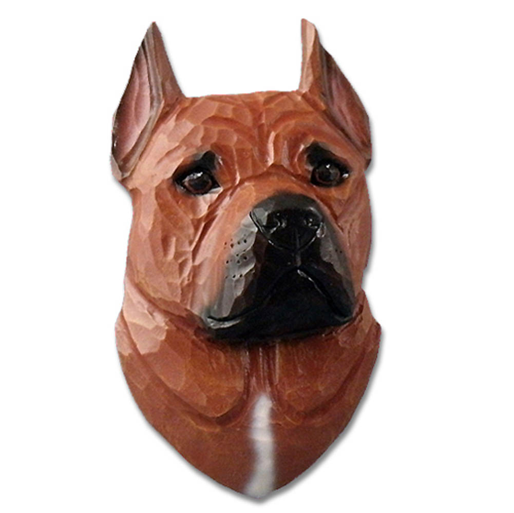 American Staffordshire Terrier Head Plaque Figurine Red