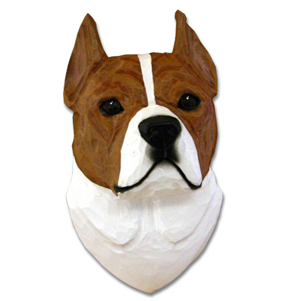 American Staffordshire Terrier Head Plaque Figurine Red/White