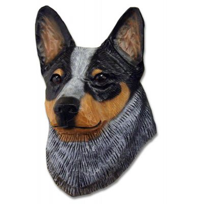 Australian Cattle Dog Head Plaque Figurine Blue 1