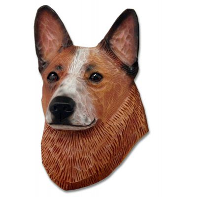 Australian Cattle Dog Head Plaque Figurine Red