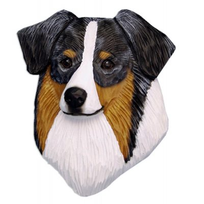 Australian Shepherd Head Plaque Figurine Blue Merle 1