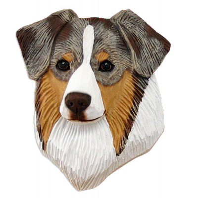 Australian Shepherd Head Plaque Figurine Red Merle