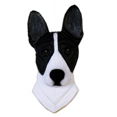 Basenji Head Plaque Figurine Black/White 1