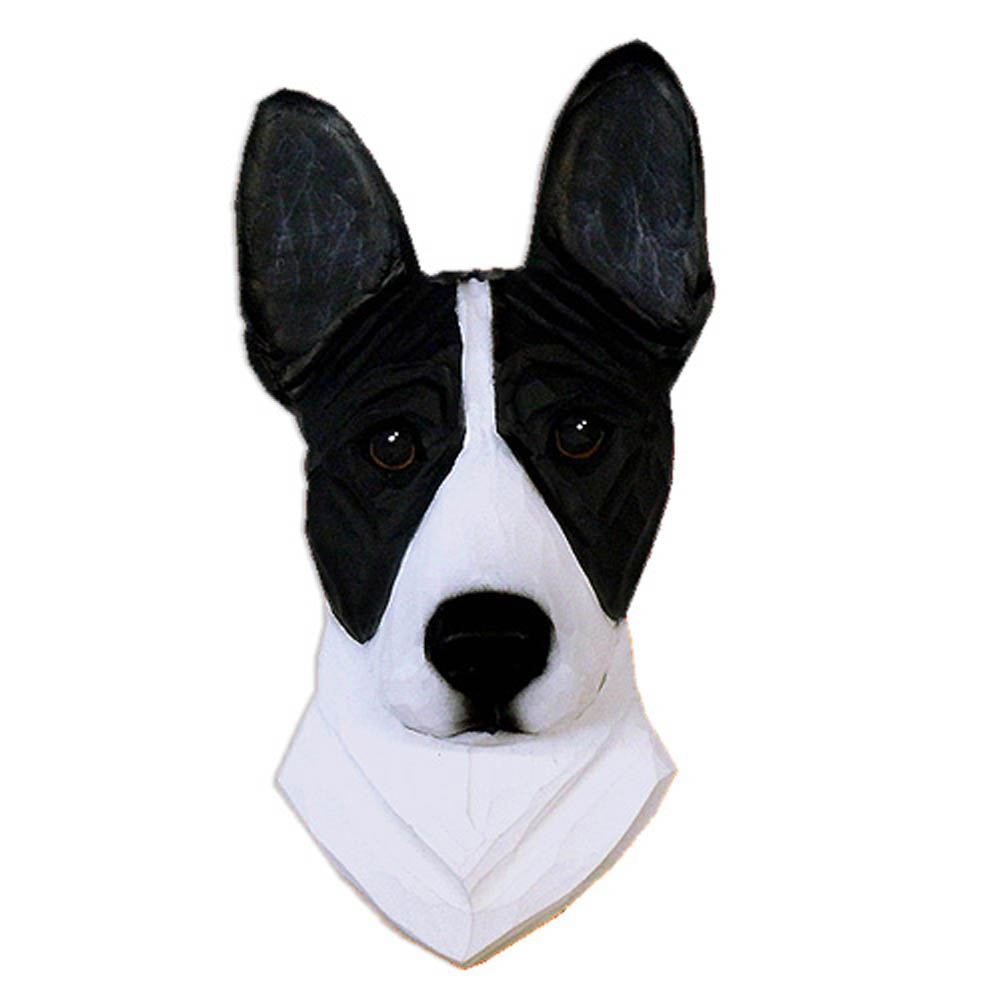 Basenji Head Plaque Figurine Black/White