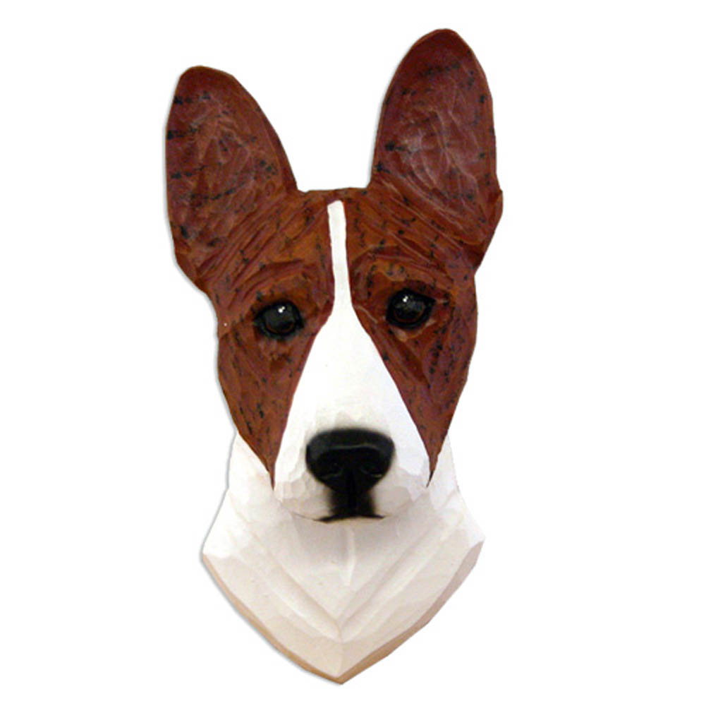Basenji Head Plaque Figurine Brindle/White