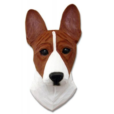 Basenji Head Plaque Figurine Red/White 1