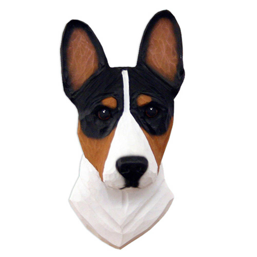 Basenji Head Plaque Figurine Tri
