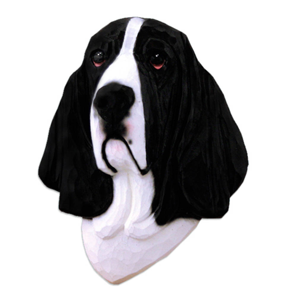 Basset Hound Head Plaque Figurine Black/White