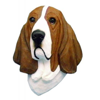 Basset Hound Head Plaque Figurine Red/White 1