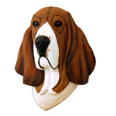 Basset Hound Head Plaque Figurine Tri 1