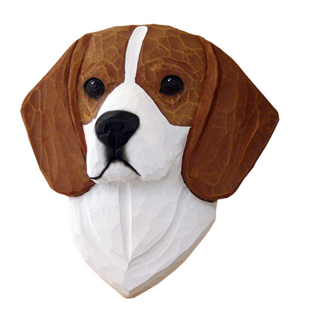 Beagle Head Plaque Figurine Red
