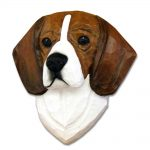 Beagle Head Plaque Figurine Tri