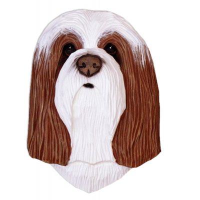 Bearded Collie Head Plaque Figurine Brown/White 1