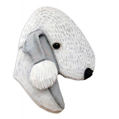 Bedlington Terrier Head Plaque Figurine Blue 1