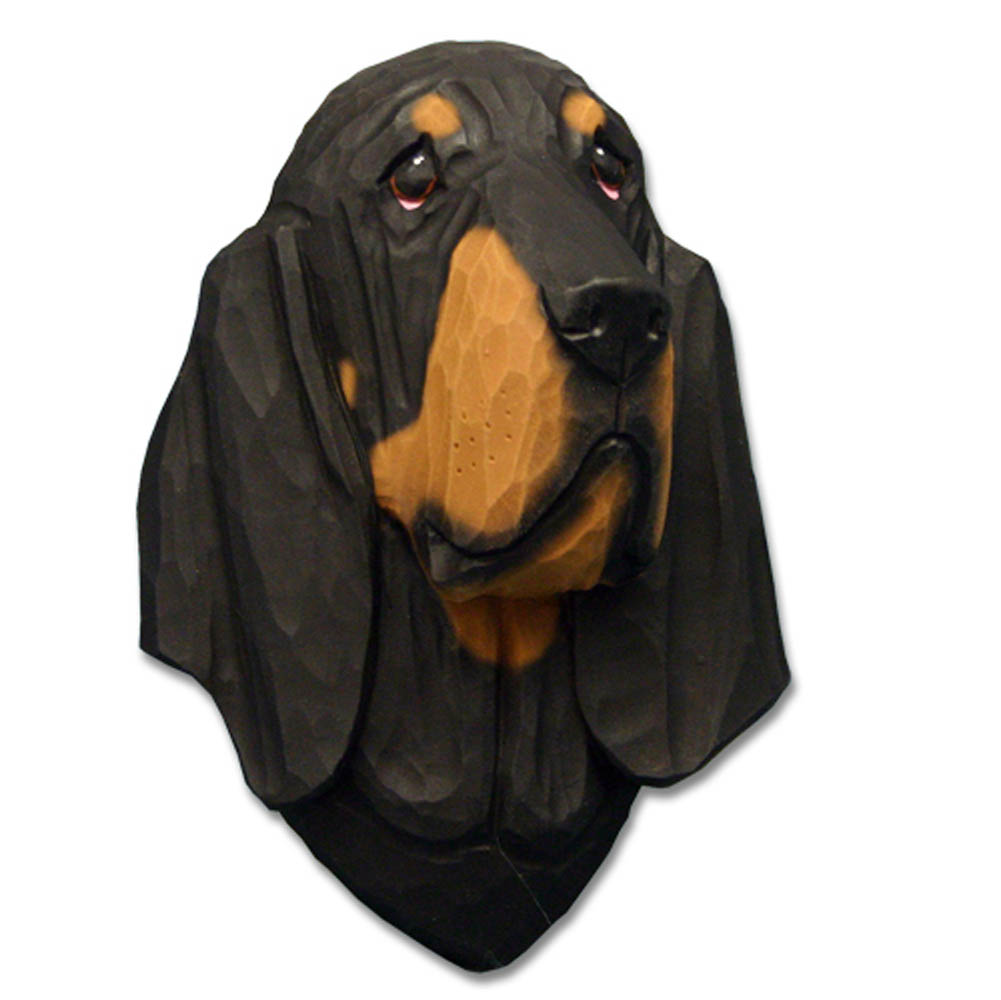 Bloodhound Head Plaque Figurine Black/Tan