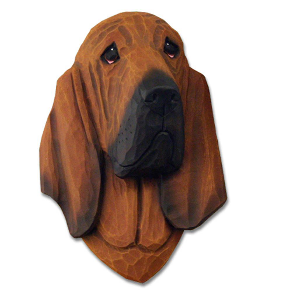 Bloodhound Head Plaque Figurine Red