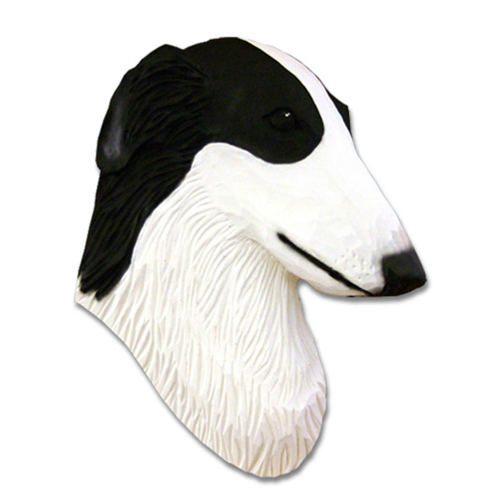 Borzoi Head Plaque Figurine Bi