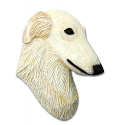 Borzoi Head Plaque Figurine Cream