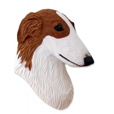 Borzoi Head Plaque Figurine Red
