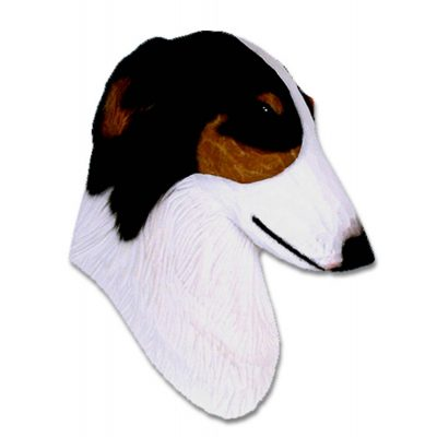 Borzoi Head Plaque Figurine Tri 1