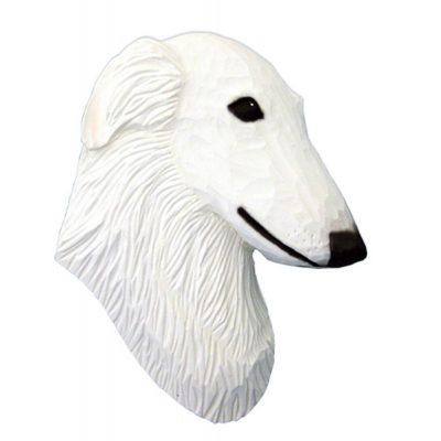 Borzoi Head Plaque Figurine White 1