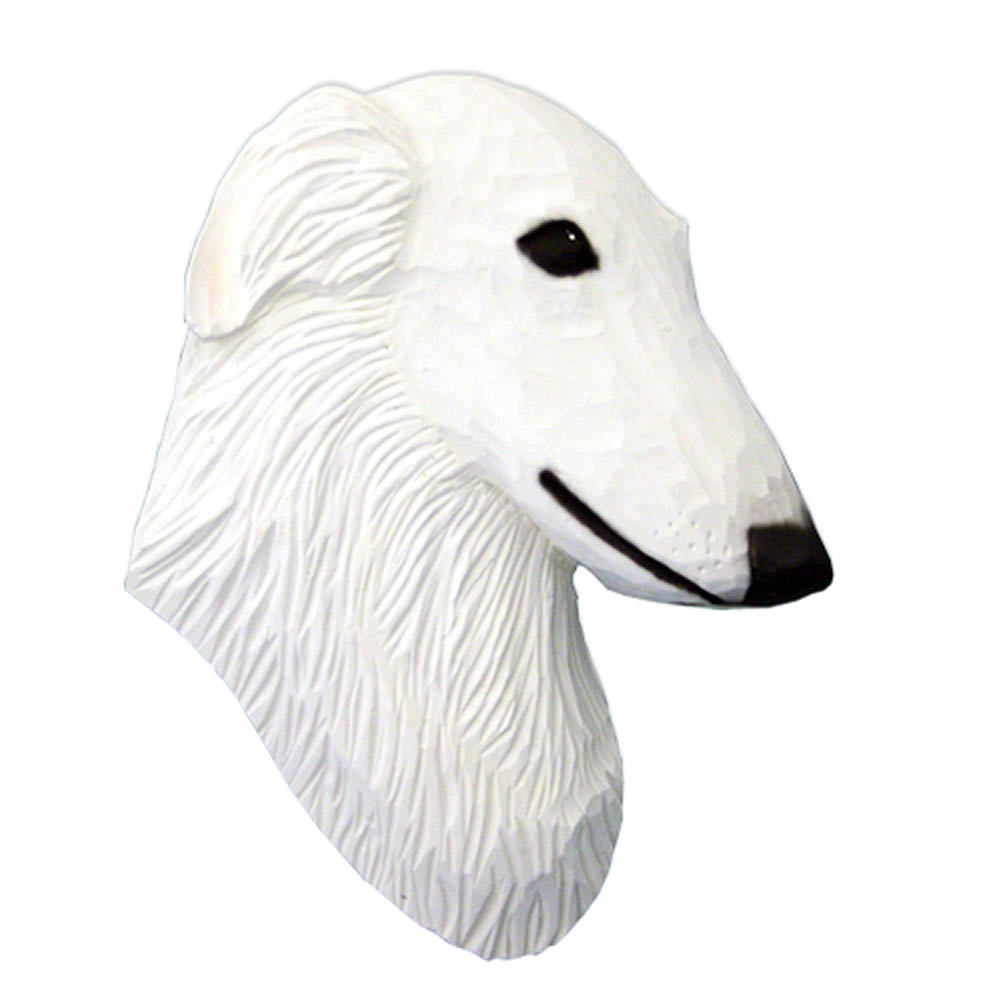 Borzoi Head Plaque Figurine White