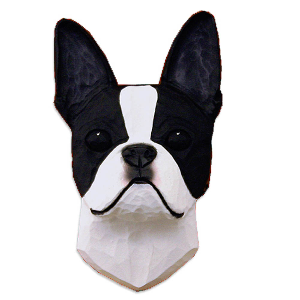 Boston Terrier Head Plaque Figurine Black