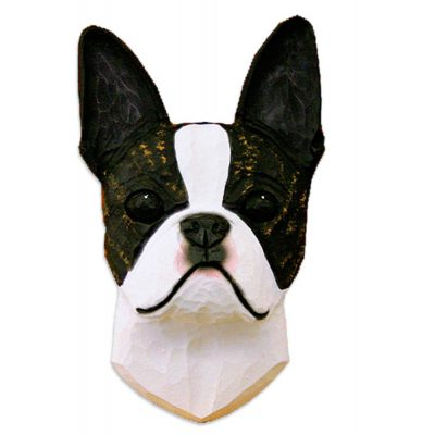 Boston Terrier Head Plaque Figurine Brindle 1