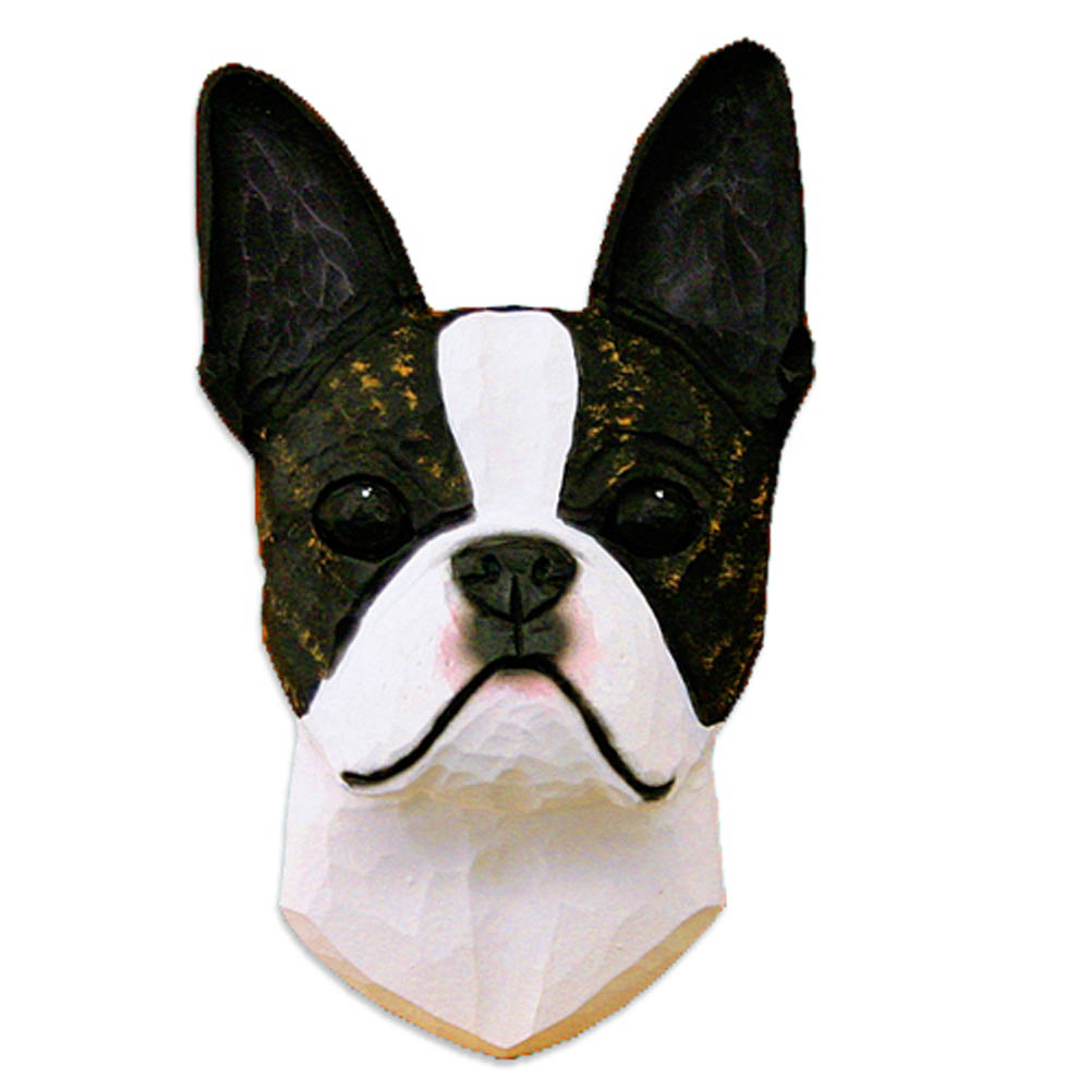 Boston Terrier Head Plaque Figurine Brindle