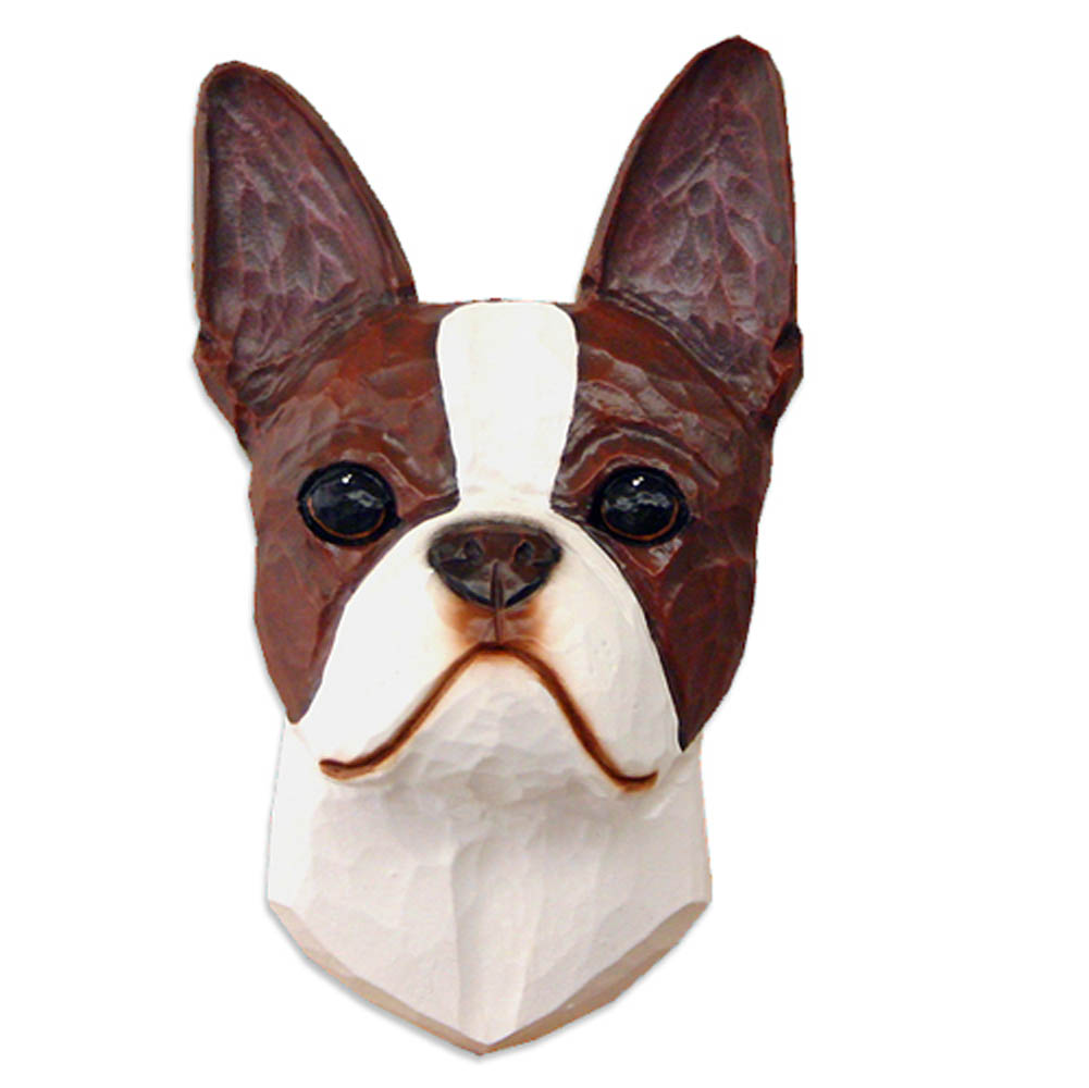 Boston Terrier Head Plaque Figurine Seal