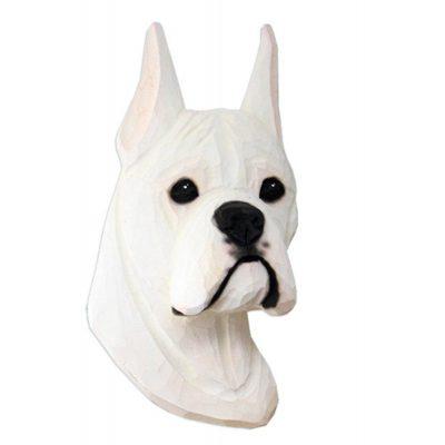 Boxer Head Plaque Figurine White 1