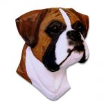 Boxer Head Plaque Figurine Fawn Uncropped